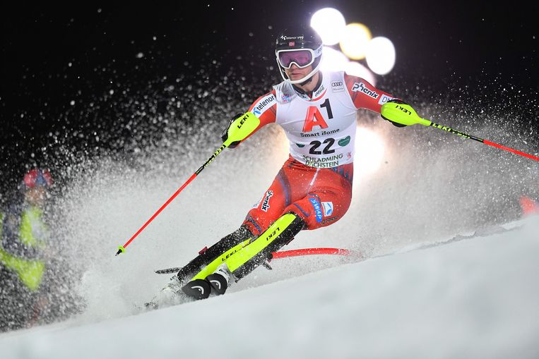 Jonathan Nordbotten of Norway competes during the first run of the men's slalom event at the FIS Alpine World Cup in Schladming. Beeld AFP