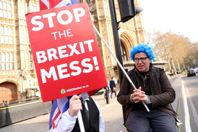 Demonstranten voeren actie tegen de brexit in Londen. Beeld AFP