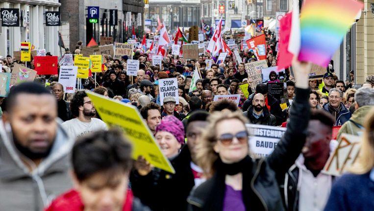 De jaarlijkse antiracisme-betoging, 23 maart dit jaar. Beeld Niels Wenstedt