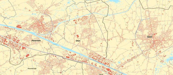 In Olen komt de leidingstraat ofwel langs de E313 in het zuiden, ofwel in het oosten vlakbij de grens met Geel. In het laatste geval zullen de leidingen echter maar minimaal op Olens grondgebied komen.