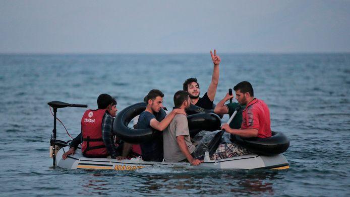 Migrants entre Bodrum et Kos.