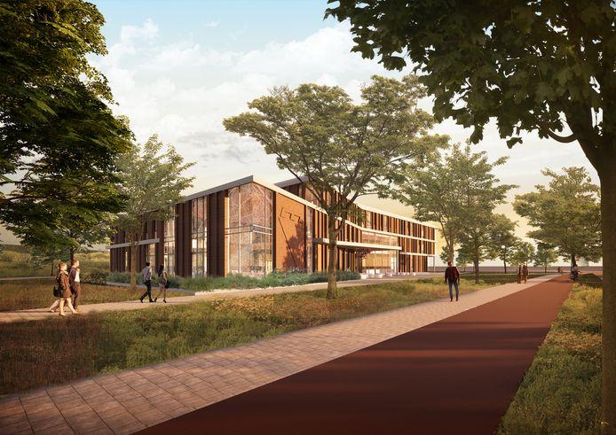 Het nieuwe gemeentehuis vanaf de spoortunnel. Links voor de raadzaal. De wanden tussen de gevels zijn op deze tekening uitgevoerd in metselwerk.