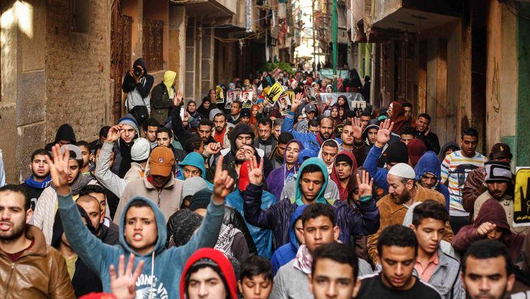 Aanhangers van de Moslim Broederschap demonstreren in Caïro, 25 januari 2016. Beeld ap