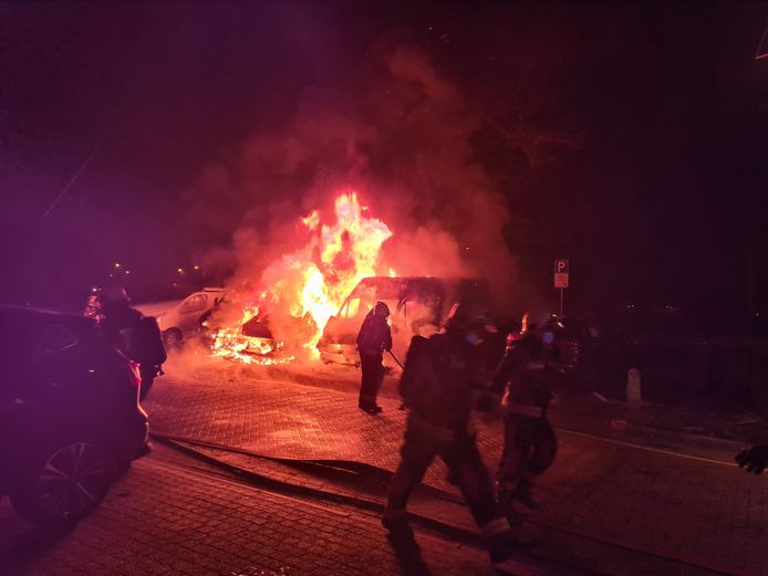 Vier auto's aan de Leenmanslag gingen in vlammen op.