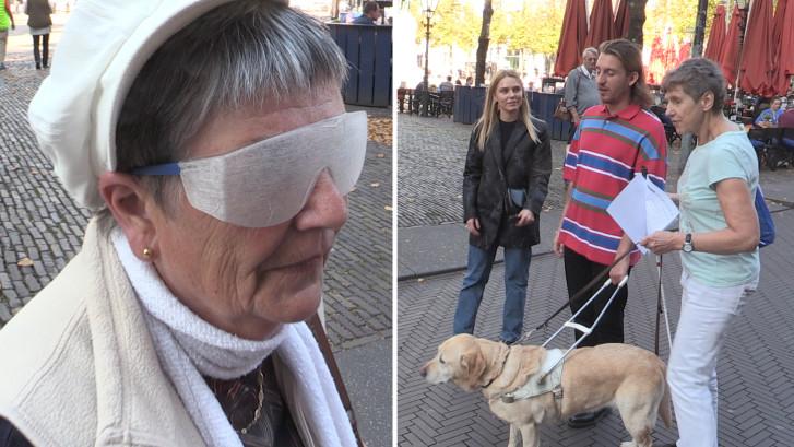 Voorbijgangers ervaren hoe het is om blind te zijn