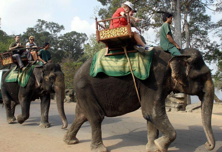 Toeristen bij het tempelcomplex Angkor Wat. Beeld AFP