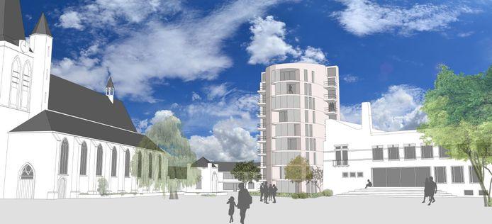 Het schetsontwerp van architect Steven Woudstra: op de plek van het oude gemeentehuis heeft hij een woontoren geplaatst.