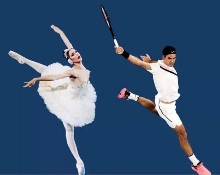 Roger Federer en de ballerina. Beeld Getty Images