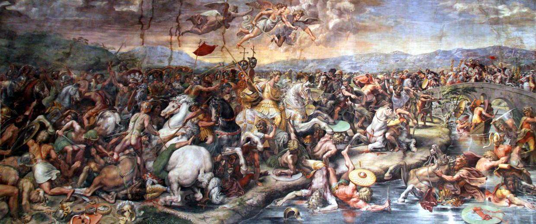 'Slag bij de Milvische brug', Giulio Romano (ca. 1520), Vaticaanstad. Twee keizers bestreden elkaar hier in het jaar 312. Keizer Constantijn I schreef zijn overwinning toe aan de God van de christenen. Beeld