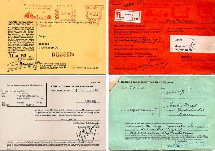Oproep- en keuringskaarten van Jack Koops