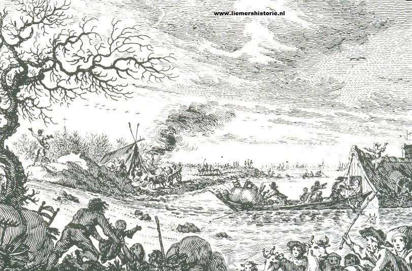 Een tekening van één van de dijkdoorbraken bij Leuffen.