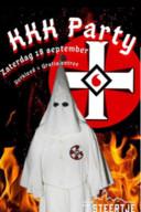 Pamflet van de aangekondigde 'KKK Party' zaterdagavond op Urk bij 't Steertje.