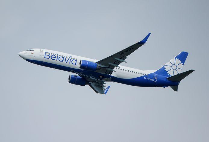 Een Boeing 737-800 van de Belarussische staatsluchtvaartmaatschappij Belavia.