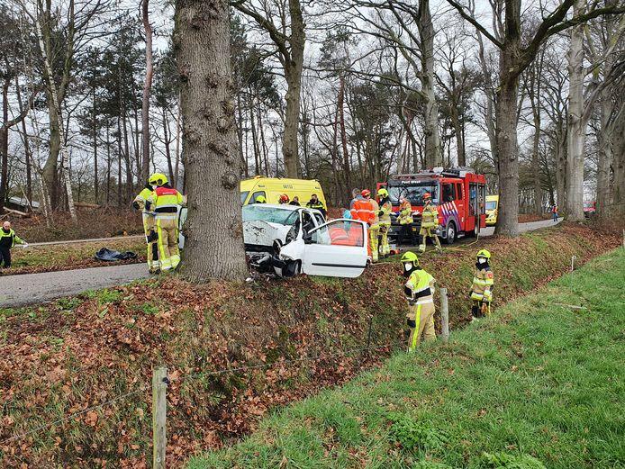 De bestuurder van de auto overleefde het ongeluk niet in Overasselt.