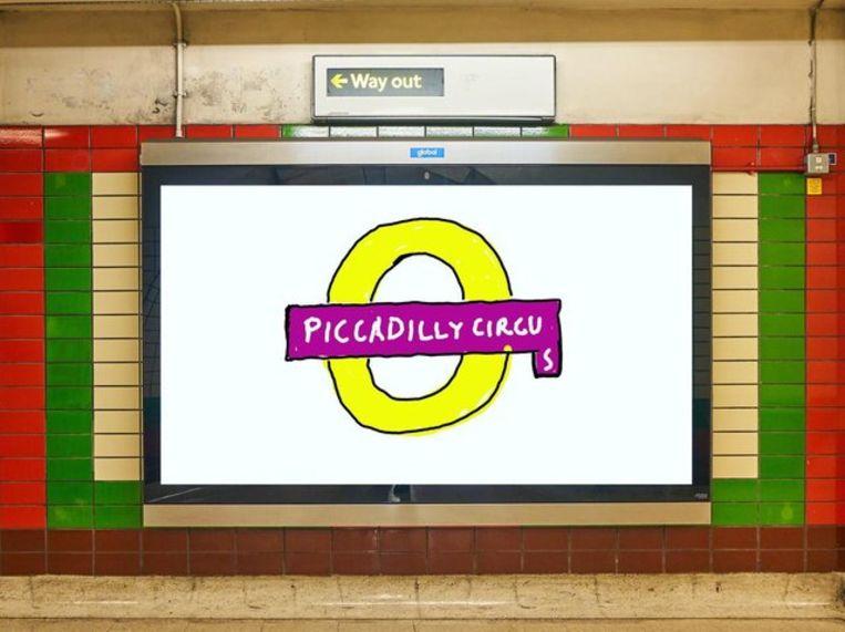 De poster die David Hockney ontwierp voor het Londense metronet. Beeld Twitter