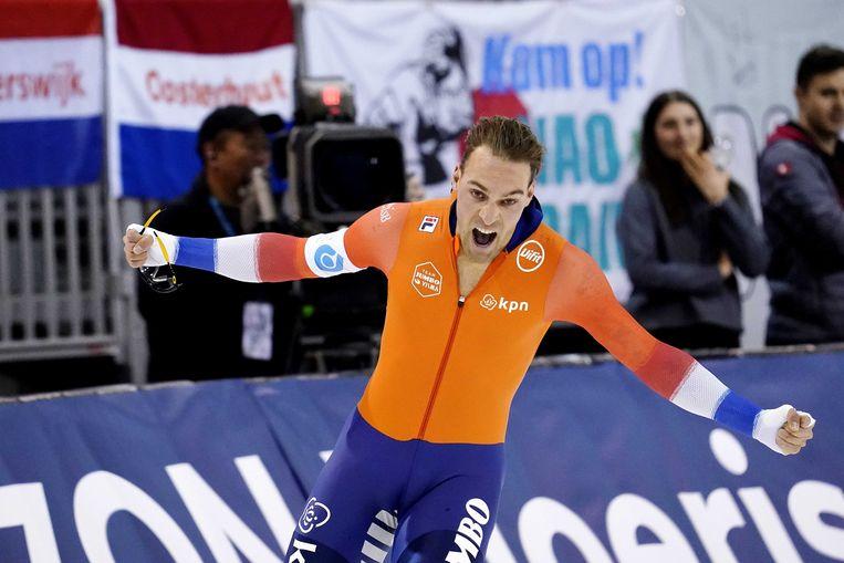 Kjeld Nuis reageert na de rit op de 1.500 meter op het WK afstanden schaatsen. Beeld ANP