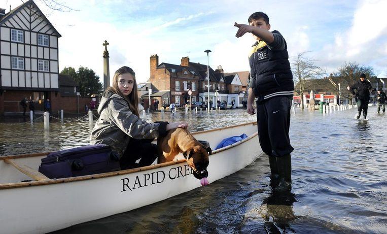 Een meisje en haar hond in Datchet, Berkshire.<br /><br />De Engelse overheid waarschuwt voor ernstig overstromingsgevaar in 14 plaatsen langs de de rivier de Theems. Duizenden huishoudens moeten zich daar op voorbereiden. Sinds december zijn al zo'n 8000 woningen getroffen door het hoge water.<br /><br />Ondanks alle maatregelen is vanmiddag het dorp Datchet ook ondergelopen.<br /><br />Na twee maanden van recordneerslag voorspellen meteorologen nog zeker tot en met donderdag iedere dag regen. Vooral de graafschappen Berkshire en Surrey zullen vermoedelijk met wateroverlast te maken krijgen. <br /><br />De Britten worstelen met het natste weer sinds 1766. Het water in de rivier stond in tientallen jaren niet zo hoog en stijgt nog steeds. Beeld epa