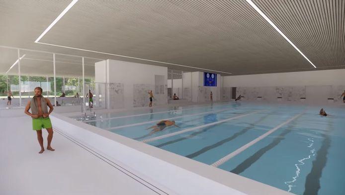 Het ontwerp van het nieuwe binnenbad van De Koerbelt.