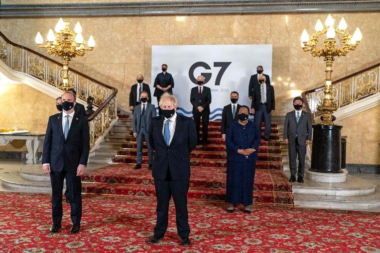 Het was voor het eerst in twee jaar dat de G7 weer fysiek bijeen kwam.  Beeld AFP