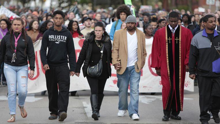 Een protestmars in Madison in maart, na de dodelijke arrestatie