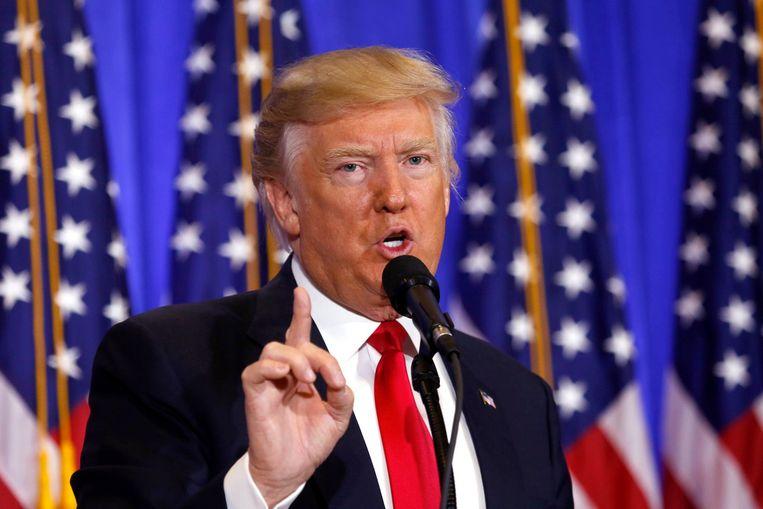 President-elect Donald Trump tijdens de persconferentie in de Trump Tower gisteren.  Beeld Photo News
