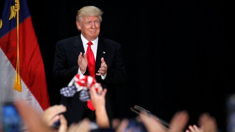 Donald Trump op een rally in Charlotte in de staat North Carolina Beeld reuters
