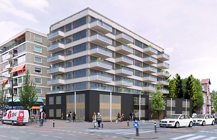 Een impressie van het lege kantoorgebouw aan de Singel 271 in Dordrecht na de verbouwing tot huurappartementen.