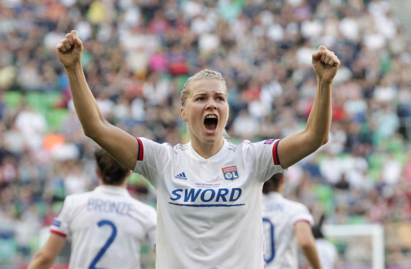 Ada Hegerberg juicht na haar derde goal in de Champions League-finale op 18 mei 2019.