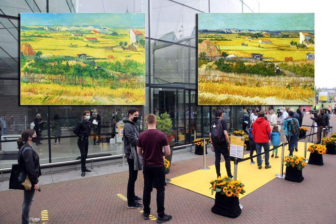 Links de valse 'voorstudie', rechts het bekende werk De Oogst van Vincent van Gogh.