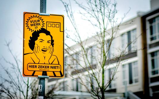 Een bord dat een vrijwillig vuurwerkvrije zone aanduidt