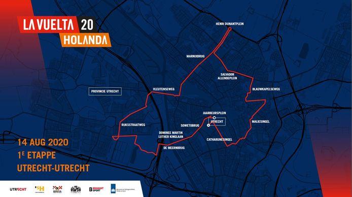 Kaartje van de eerste  etappe van de Ronde van Spanje in Nederland. De oorspronkelijke datum van de etappe ging niet door vanwege de coronacrisis.