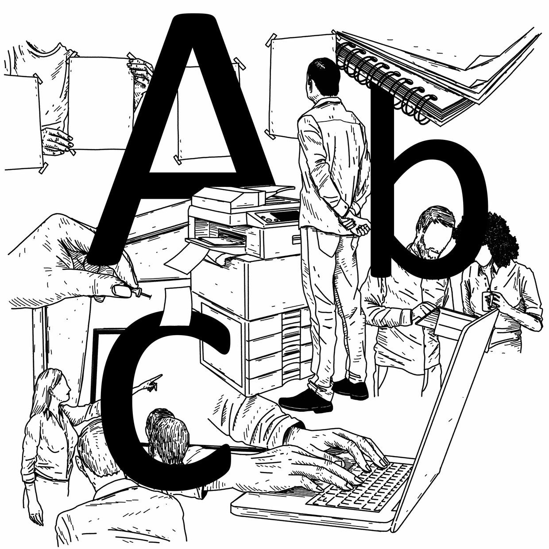 De Calibri, een schreefloos, subtiel afgerond letterontwerp van de Nederlander Lucas de Groot – hier verbeeld door illustrator Michel Keppel – is een van de meest gebruikte letters ter wereld.   Beeld Michel Keppel