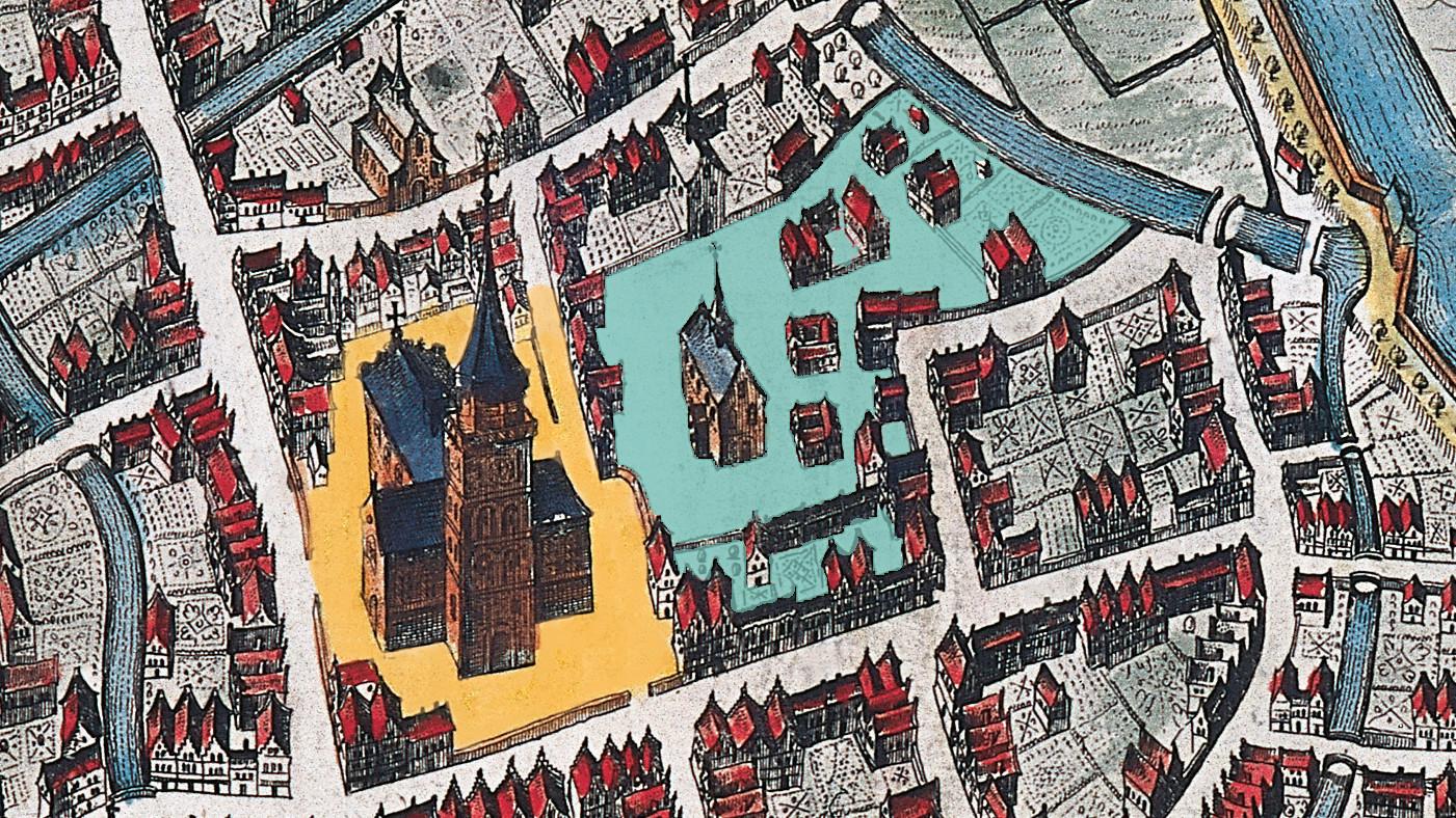 Kaart van de Parade met begijnhof.
