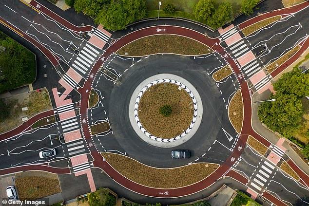 Nederlandse rotonde in Cambridge, Engeland.