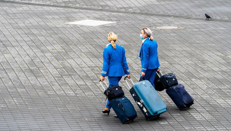 Stewardessen van KLM op Schiphol. Beeld Freek van den Bergh / de Volkskrant