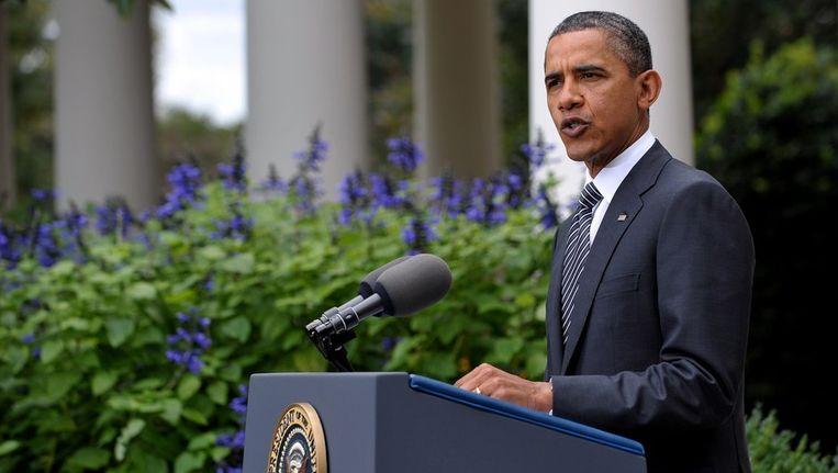 President Obama tijdens zijn speech, vandaag. Beeld afp