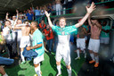 Robin Gosens is uitzinnig na de promotie van FCDordrecht naar de eredivisie na winst op Sparta in mei 2014. ARCHIEFFOTO