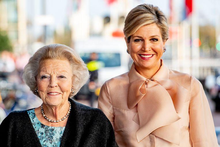 Koningin Maxima en prinses Beatrix tijdens de uitreiking van de Prins Bernhard Cultuurfonds Prijs in het Muziekgebouw aan 't IJ. Beeld Hollandse Hoogte /  ANP