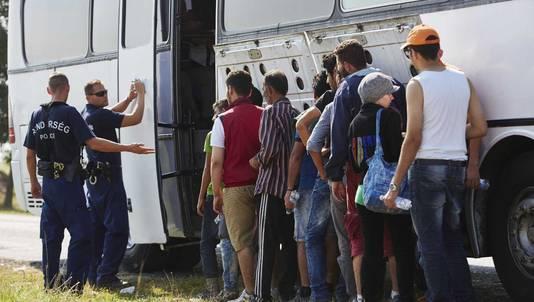 Een groep Syrische vluchtelingen bij de Hongaars-Servische grens