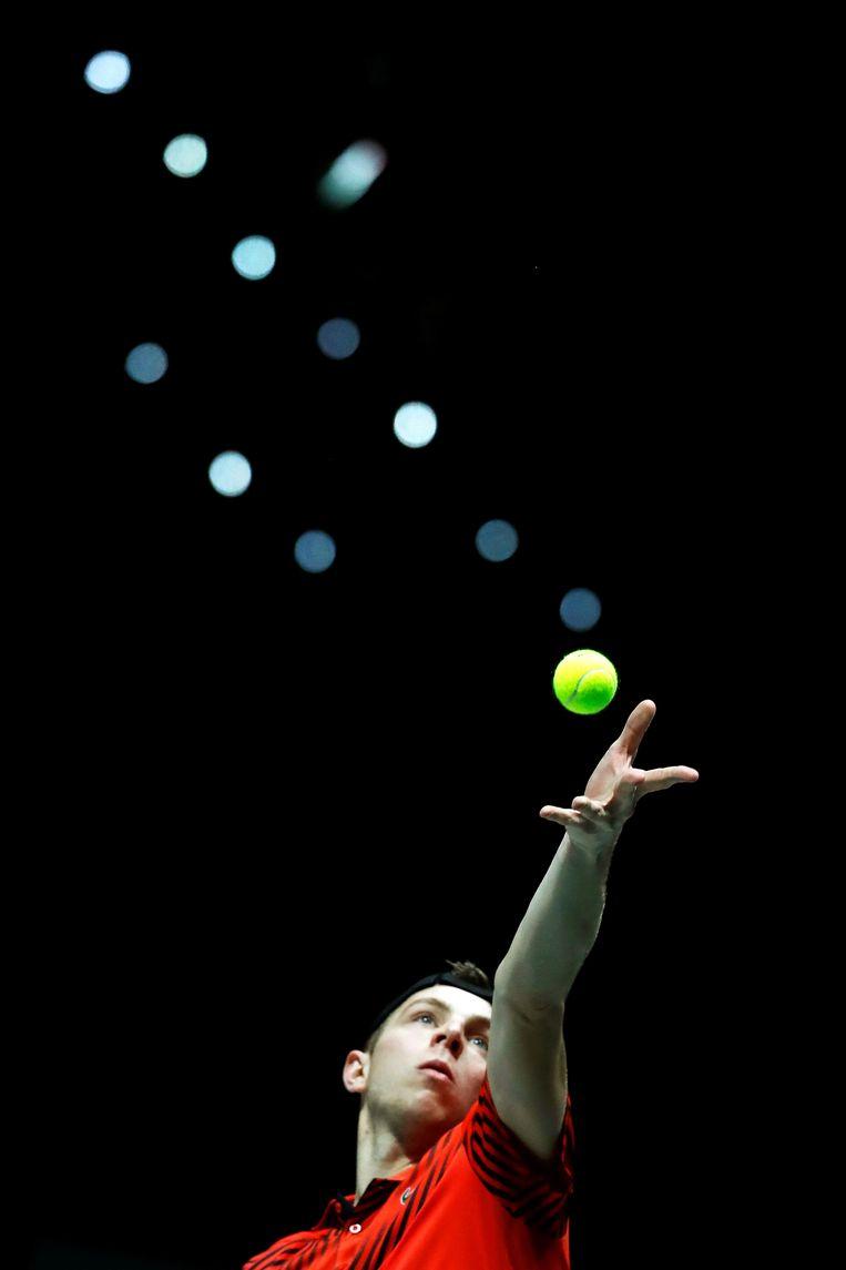 llon Griekspoor in actie tijdens de Australian Open. Beeld EPA