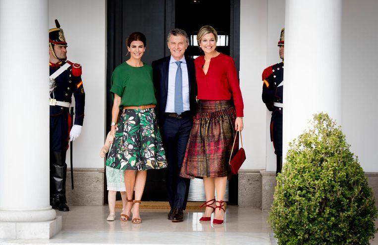 Maxima op bezoek bij Mauricio Macri en zijn vrouw Juliana Awada op de tweede dag van haar VN-werkbezoek aan Argentinie. Beeld anp