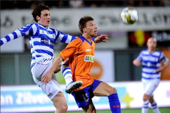 Melvin de Leeuw (rechts) in duel met een verdediger van FC Zwolle in zijn tijd bij RBC. foto Robert van den Berge