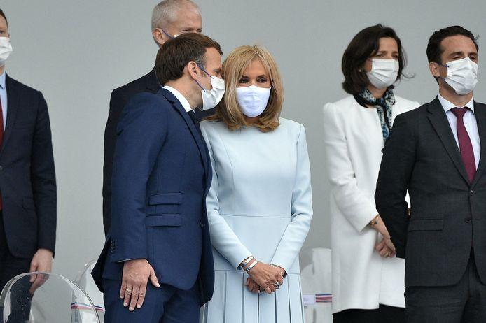 Le président de la République française, Emmanuel Macron, sa femme la Première Dame Brigitte Macron.