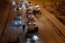 Gestrande automobilisten door noodweer in Madrid.