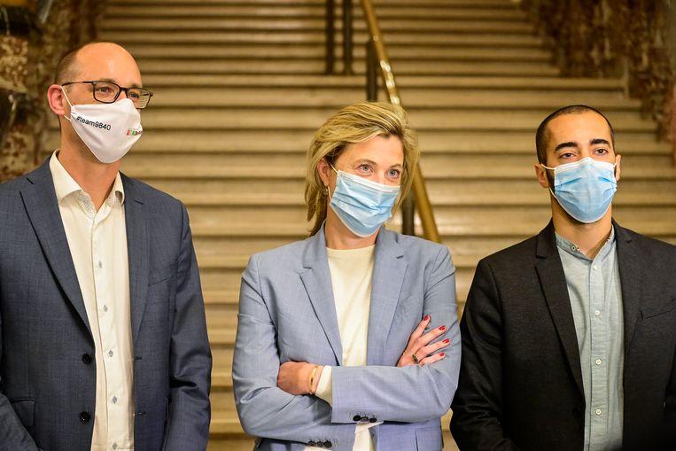 Vincent Van Peteghem, Annelies Verlinden en Sammy Mahdi  Beeld BELGA