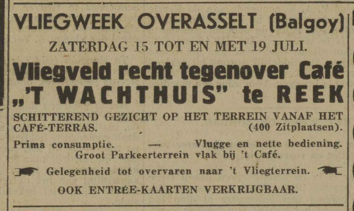 Aankondiging van de Overasseltse Vliegweek in 1933. In Reek te bekijken vanaf het terras van café 't Wachthuis