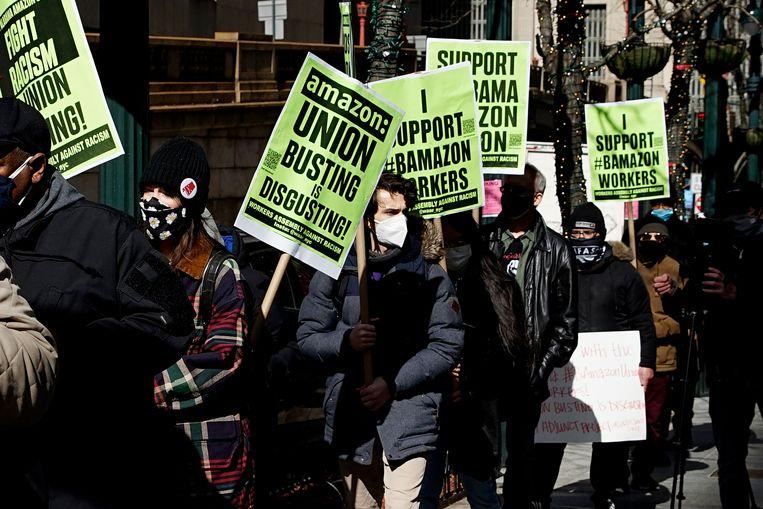 Anti-Amazondemonstratie eerder dit jaar in New York tegen de slechte werksituatie onder werknemers. Beeld Corbis via Getty Images