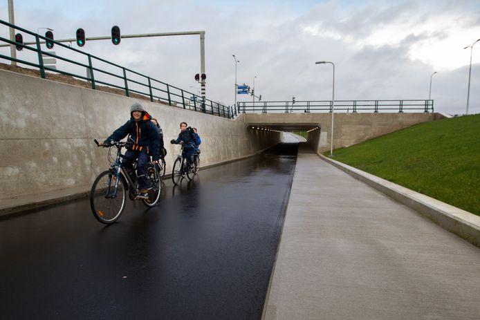 De fietstunnel onder de Universiteitsweg bij De Bilt. (Foto Jeroen Jumelet)