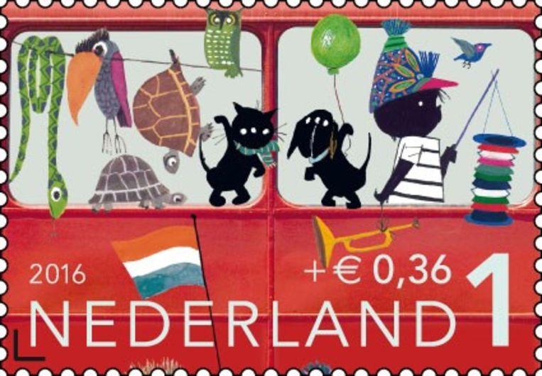 Een kinderpostzegel met tekeningen van Fiep Westendorp.  Beeld rv