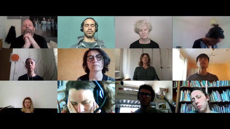 Screenshot van onlineperformance Distant Feelings. Beeld Annie Abrahams
